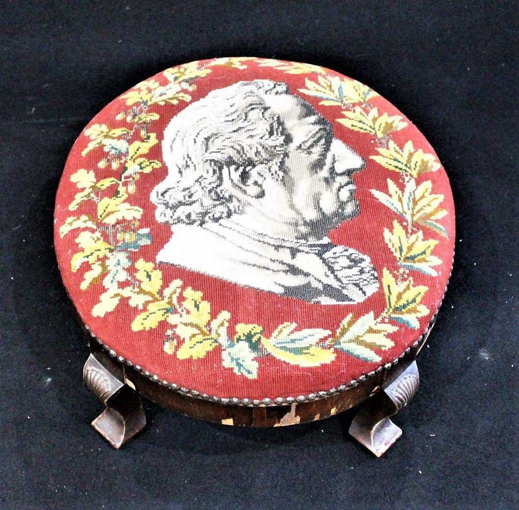 Antique TEXTILE UPHOSTERY FOOTSTOOL Historical Portrait - 2