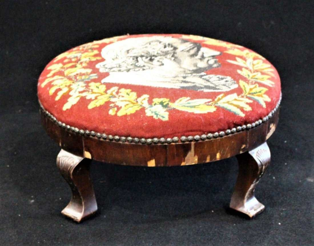 Antique TEXTILE UPHOSTERY FOOTSTOOL Historical Portrait - 3