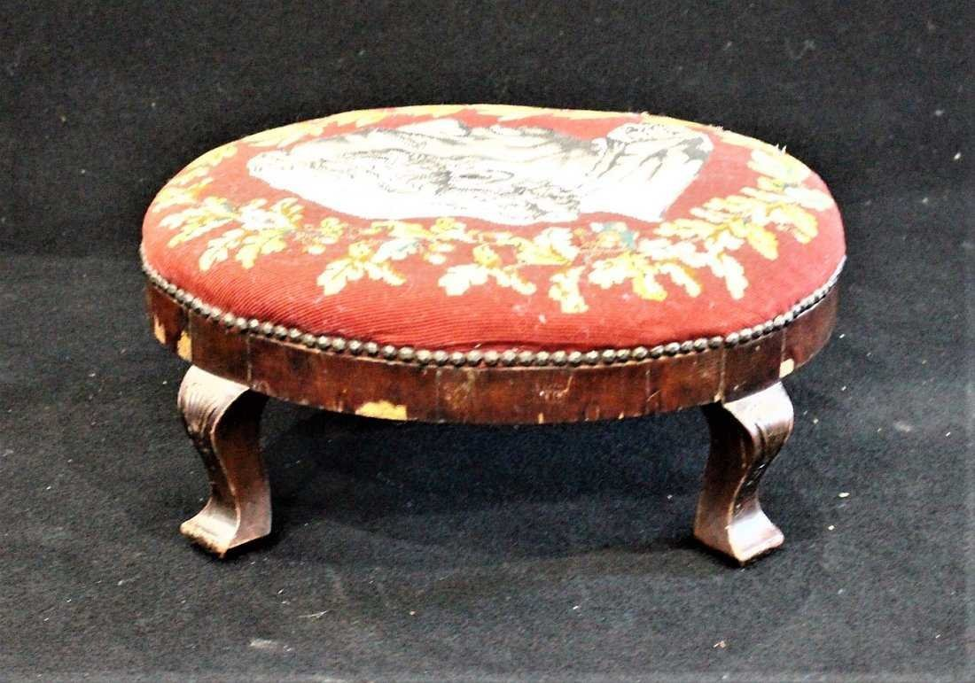 Antique TEXTILE UPHOSTERY FOOTSTOOL Historical Portrait - 4