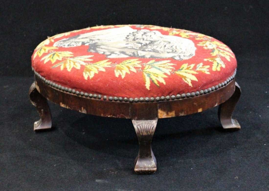 Antique TEXTILE UPHOSTERY FOOTSTOOL Historical Portrait - 5
