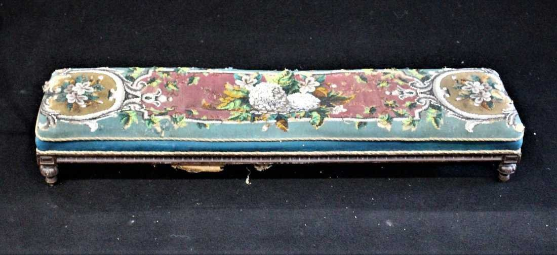 Antique TEXTILE UPHOLSTERY LONG FOOTSTOOL