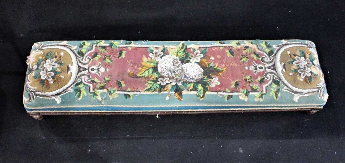Antique TEXTILE UPHOLSTERY LONG FOOTSTOOL - 2