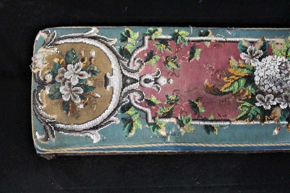 Antique TEXTILE UPHOLSTERY LONG FOOTSTOOL - 3