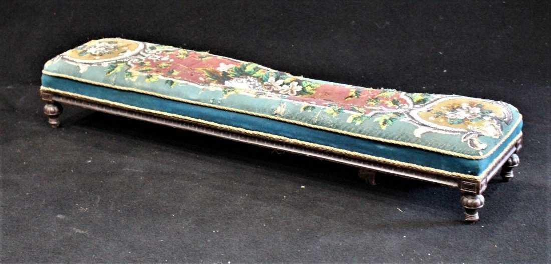 Antique TEXTILE UPHOLSTERY LONG FOOTSTOOL - 7