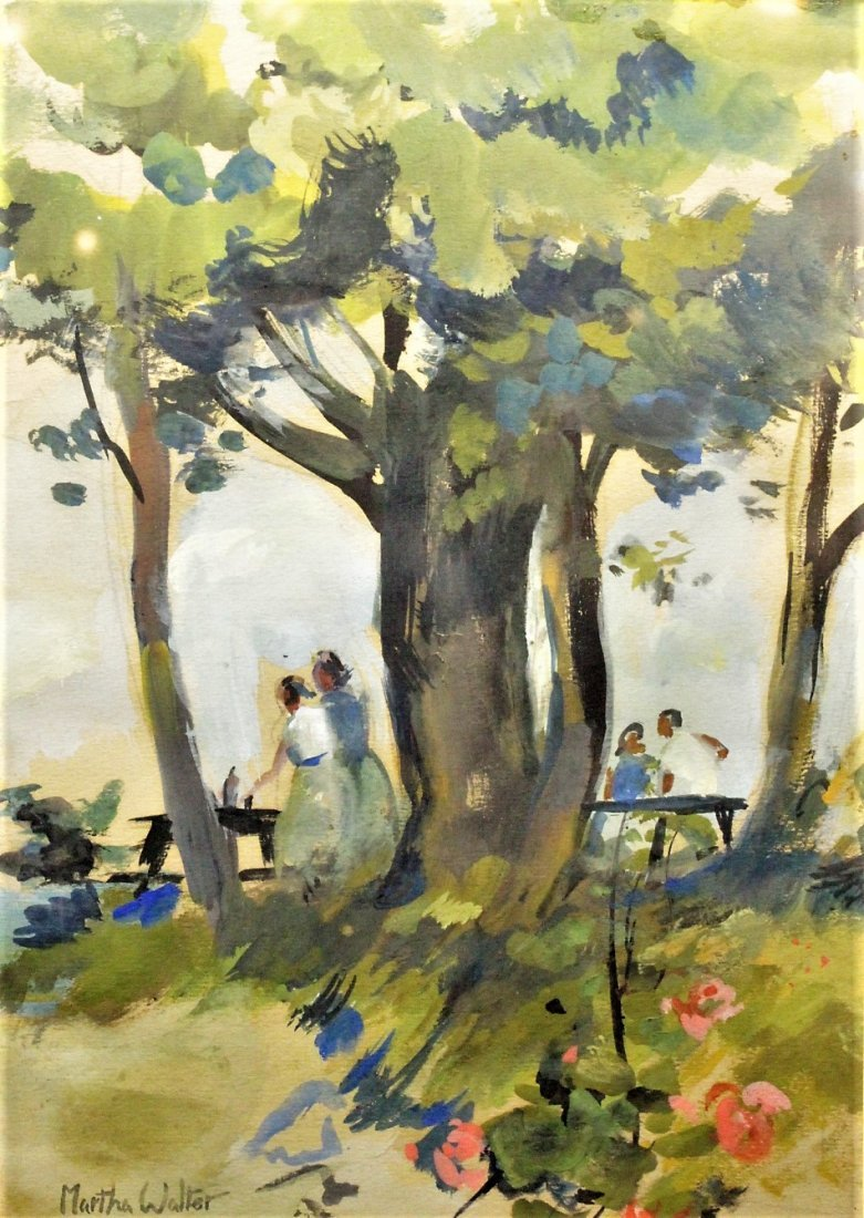 MARTHA WALTER , Watercolor OUTDOOR FAMILY PICNIC Signed