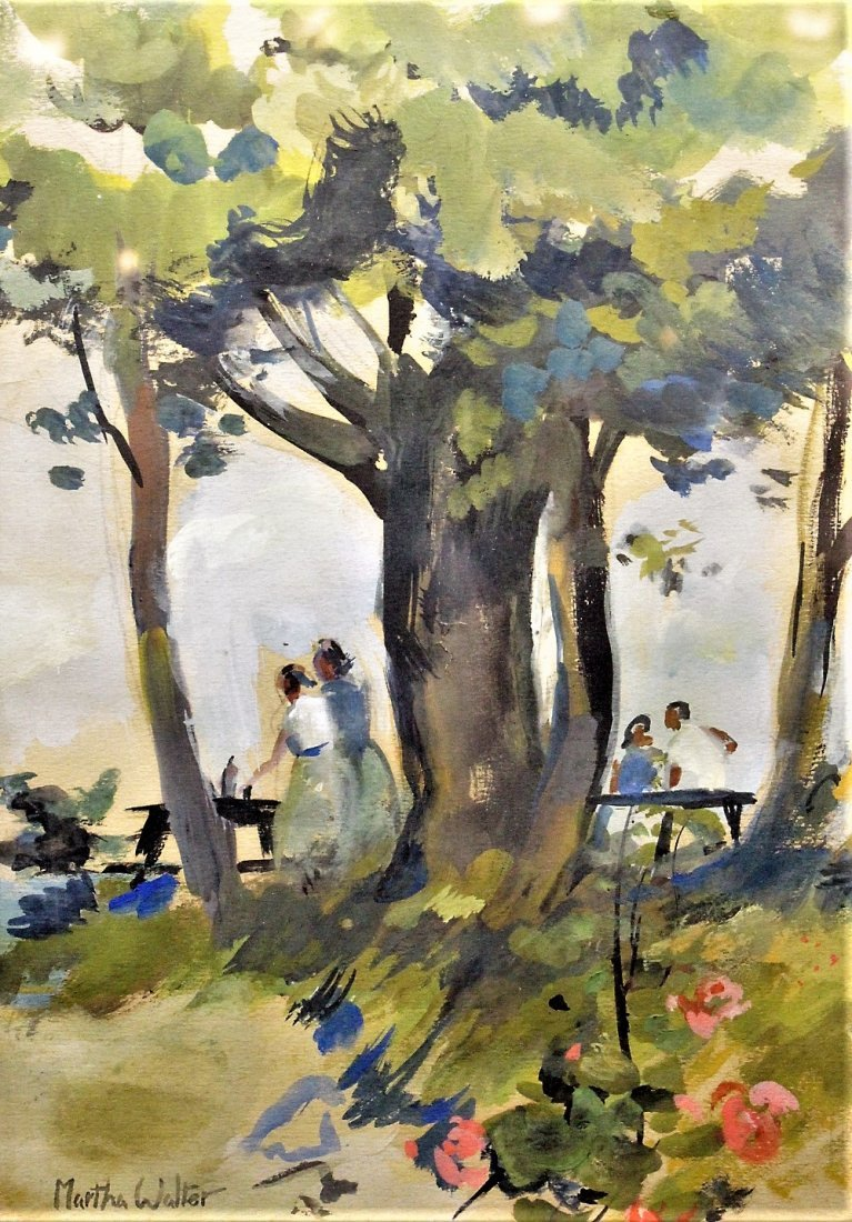 MARTHA WALTER , Watercolor OUTDOOR FAMILY PICNIC Signed - 2