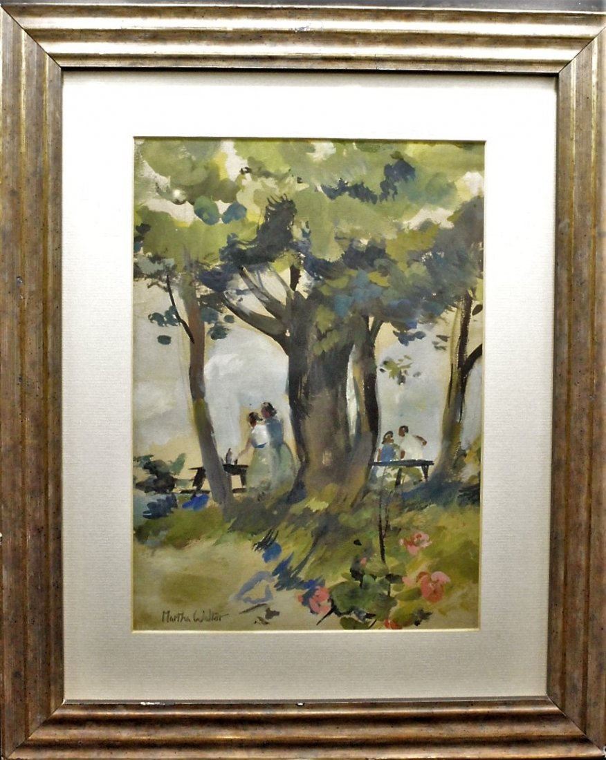 MARTHA WALTER , Watercolor OUTDOOR FAMILY PICNIC Signed - 3