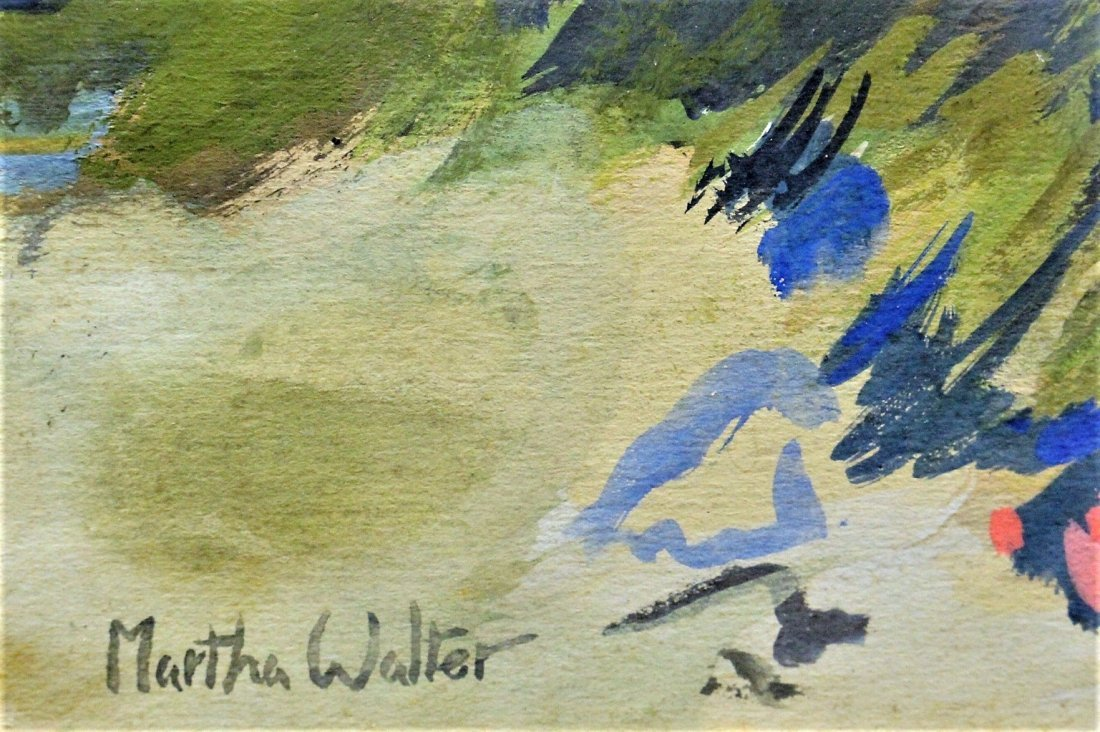 MARTHA WALTER , Watercolor OUTDOOR FAMILY PICNIC Signed - 4