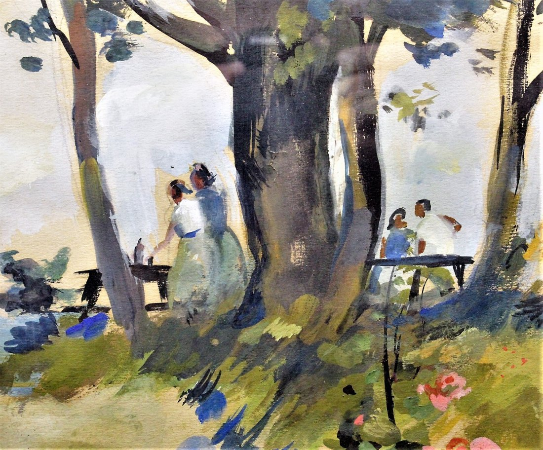 MARTHA WALTER , Watercolor OUTDOOR FAMILY PICNIC Signed - 5