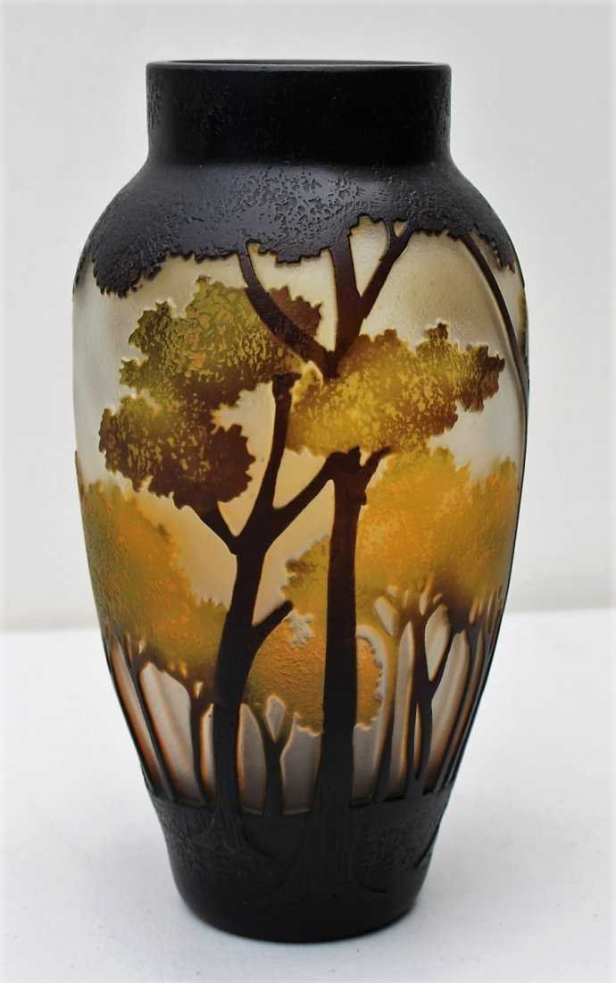CUT CAMEO GLASS VASE, 3-Color, Landscape With Trees