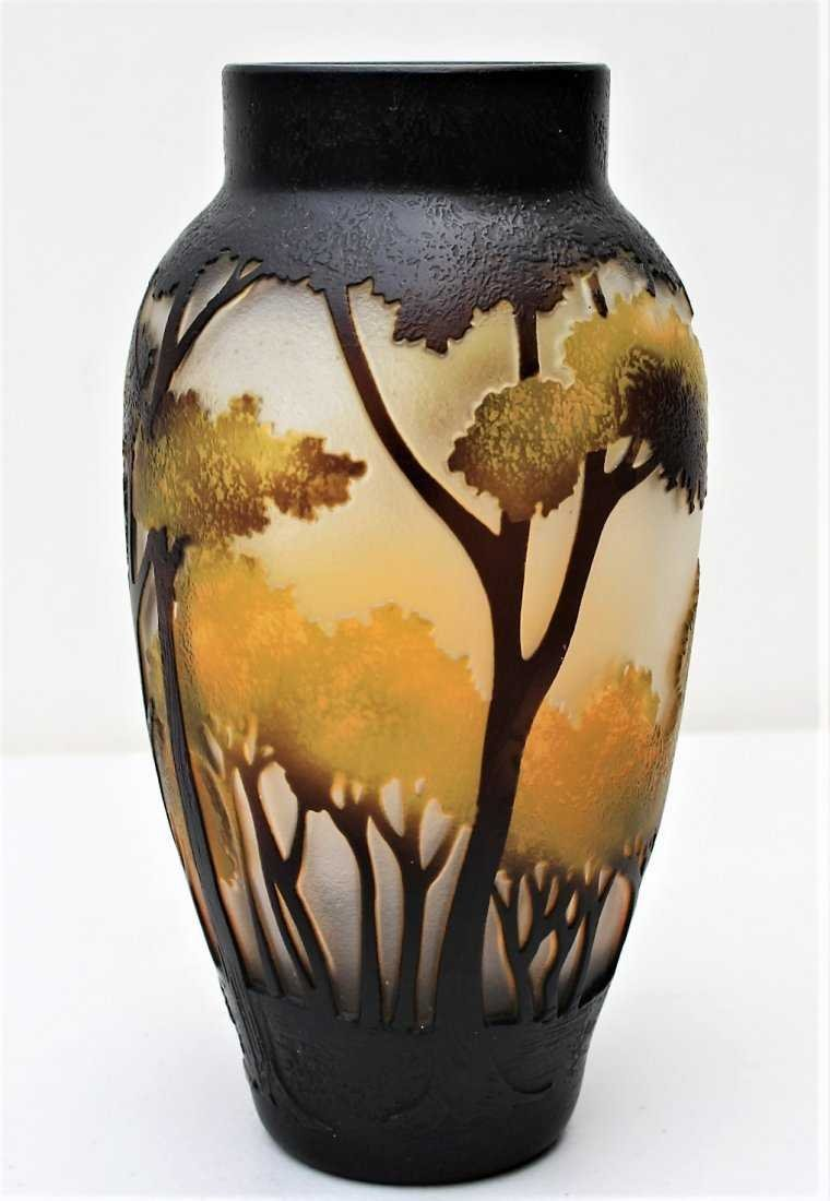 CUT CAMEO GLASS VASE, 3-Color, Landscape With Trees - 2