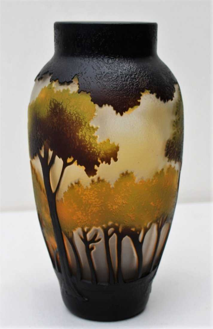 CUT CAMEO GLASS VASE, 3-Color, Landscape With Trees - 3