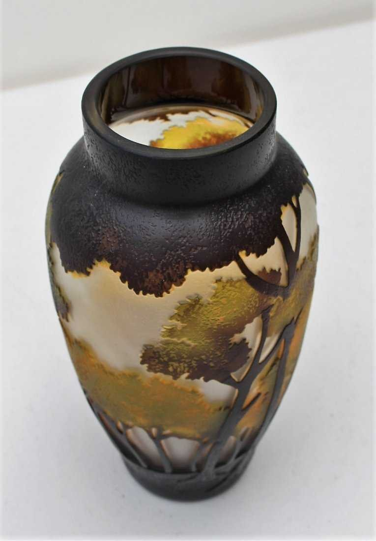CUT CAMEO GLASS VASE, 3-Color, Landscape With Trees - 5