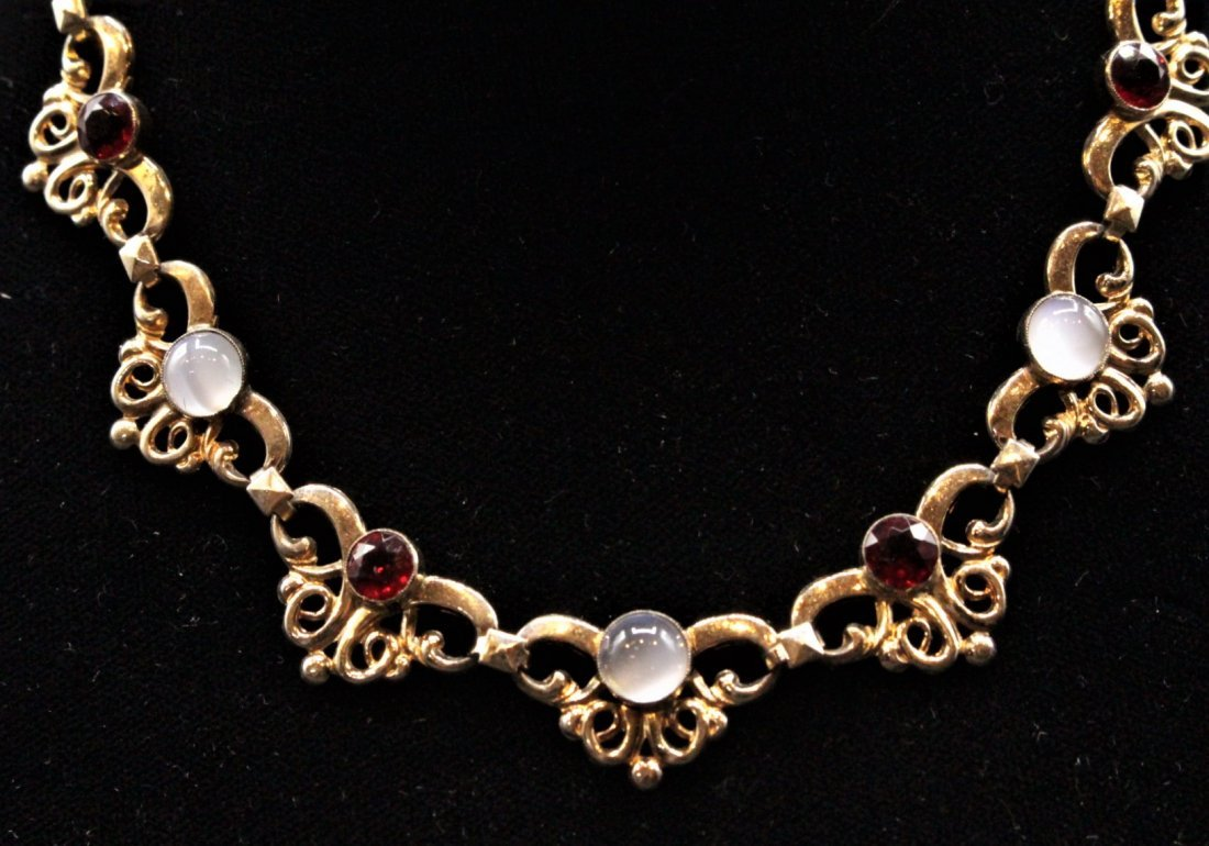 1950s STERLING SILVER, GOLD WASH, Faux Ruby Opal Stones