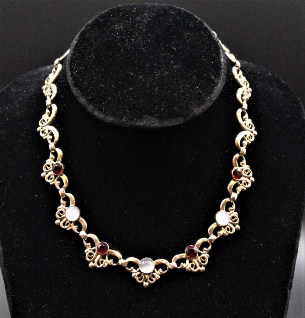 1950s STERLING SILVER, GOLD WASH, Faux Ruby Opal Stones - 2