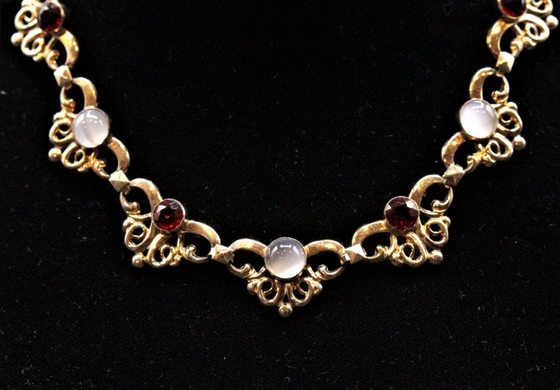 1950s STERLING SILVER, GOLD WASH, Faux Ruby Opal Stones - 3