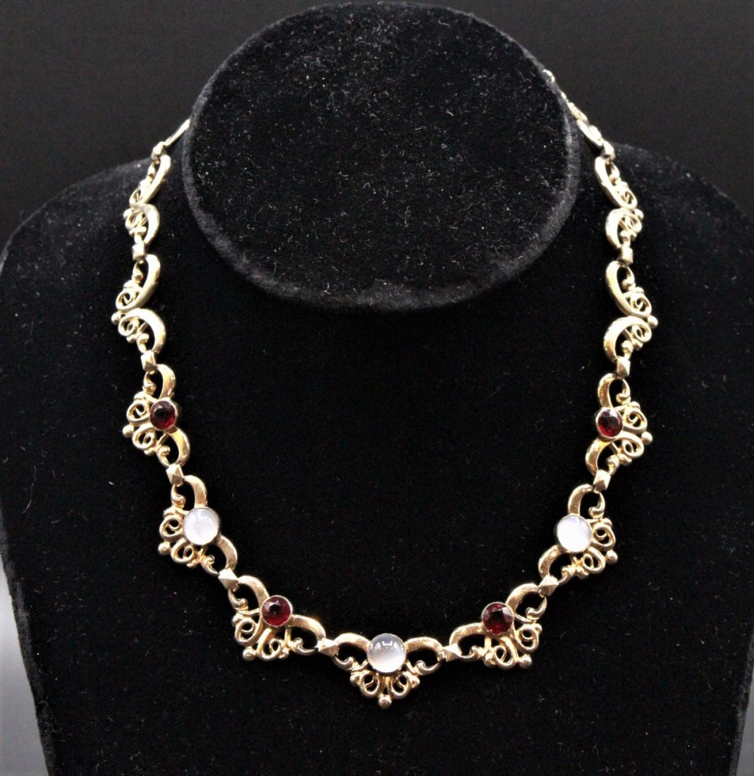 1950s STERLING SILVER, GOLD WASH, Faux Ruby Opal Stones - 4