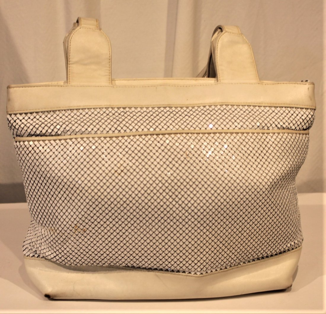 WHITING AND DAVIS - White Leather And Mesh HAND BAG - 6