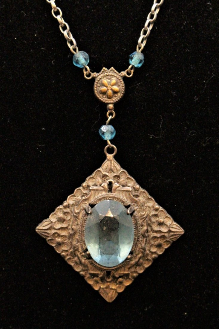 VICTORIAN STERLING WITH BLUE STONE LAVALIER NECKLACE