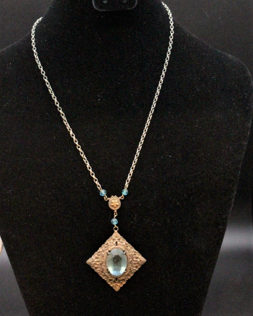 VICTORIAN STERLING WITH BLUE STONE LAVALIER NECKLACE - 3
