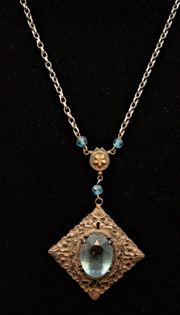 VICTORIAN STERLING WITH BLUE STONE LAVALIER NECKLACE - 4