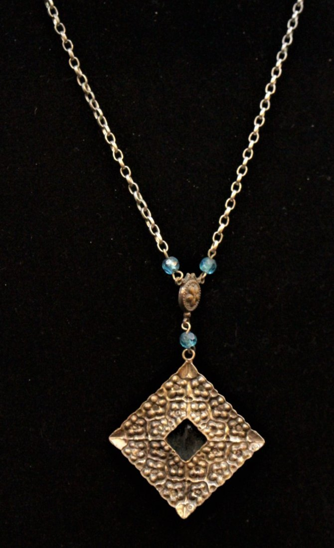 VICTORIAN STERLING WITH BLUE STONE LAVALIER NECKLACE - 5