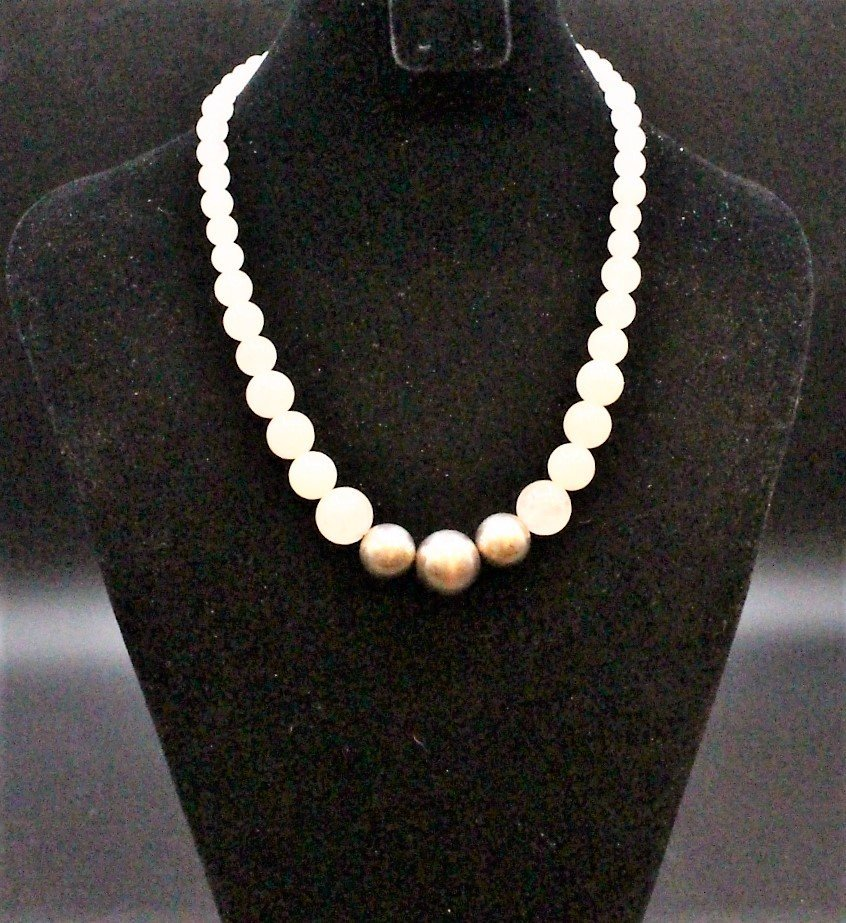 ROSE QUARTZ BEAD NECKLACE With 3 STERLING BALLS, CLASP - 2
