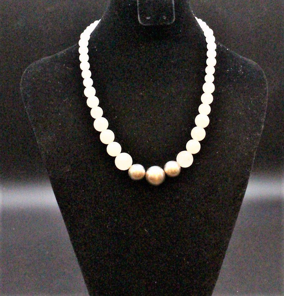 ROSE QUARTZ BEAD NECKLACE With 3 STERLING BALLS, CLASP - 3