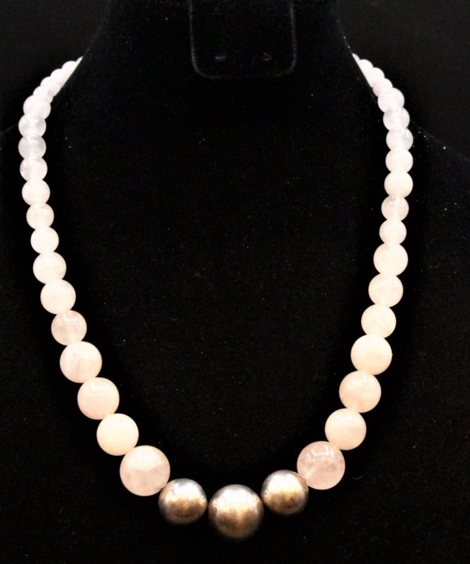 ROSE QUARTZ BEAD NECKLACE With 3 STERLING BALLS, CLASP - 4