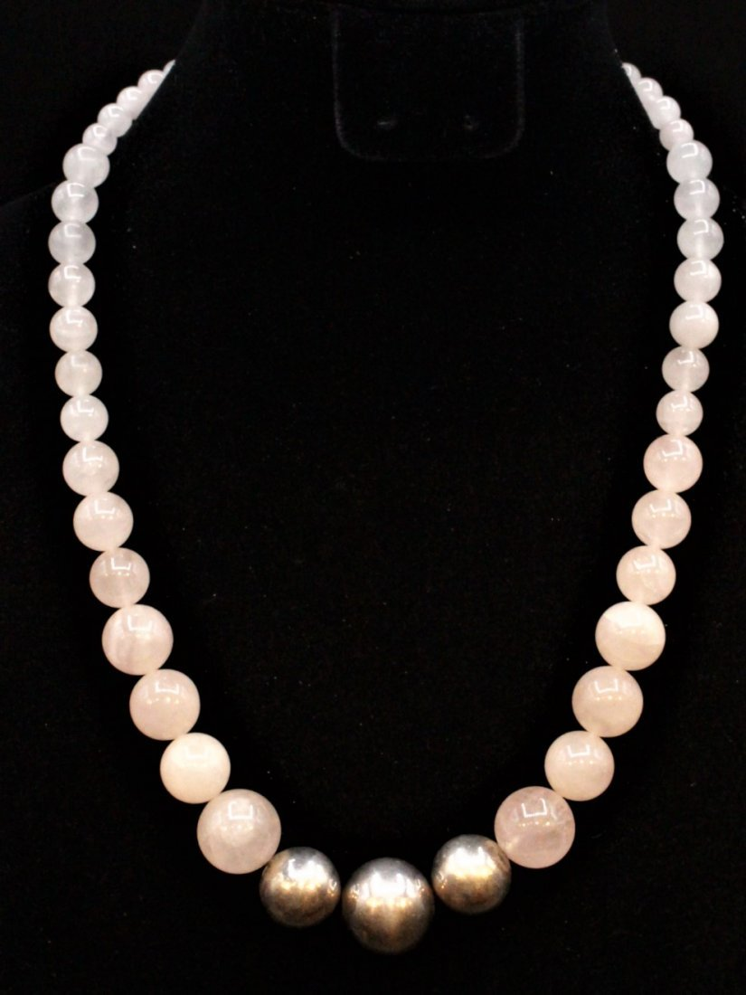 ROSE QUARTZ BEAD NECKLACE With 3 STERLING BALLS, CLASP - 5