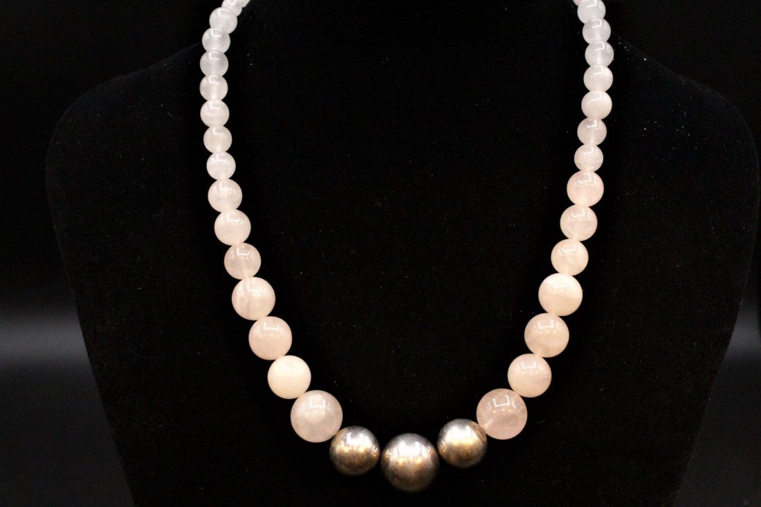 ROSE QUARTZ BEAD NECKLACE With 3 STERLING BALLS, CLASP - 6