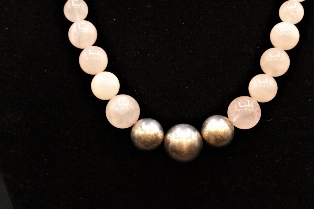 ROSE QUARTZ BEAD NECKLACE With 3 STERLING BALLS, CLASP - 7