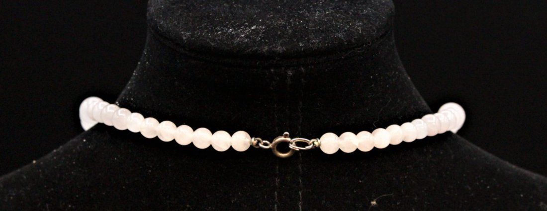 ROSE QUARTZ BEAD NECKLACE With 3 STERLING BALLS, CLASP - 8