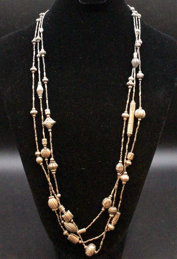 STERLING Large NAVAHO THREE STRAND NECKLACE - 2