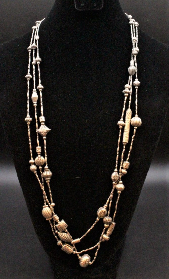 STERLING Large NAVAHO THREE STRAND NECKLACE - 3