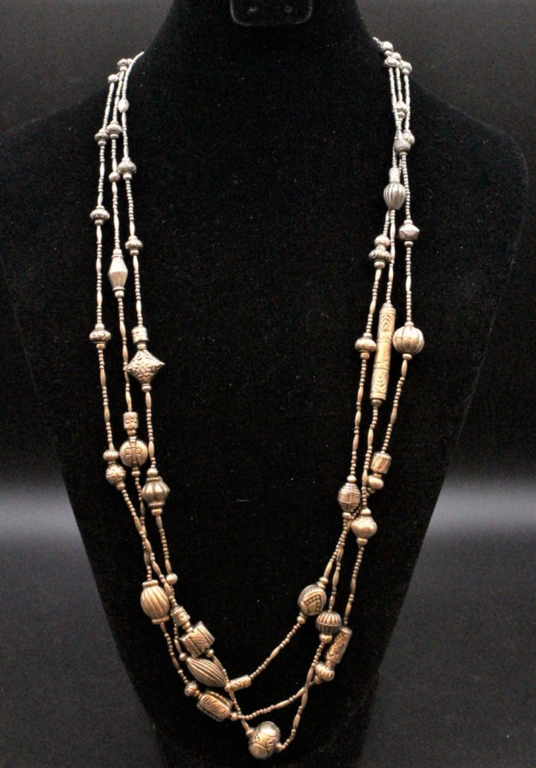 STERLING Large NAVAHO THREE STRAND NECKLACE - 4