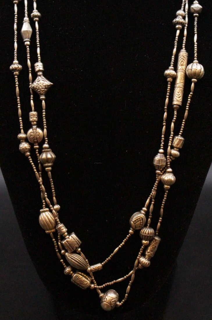 STERLING Large NAVAHO THREE STRAND NECKLACE - 5