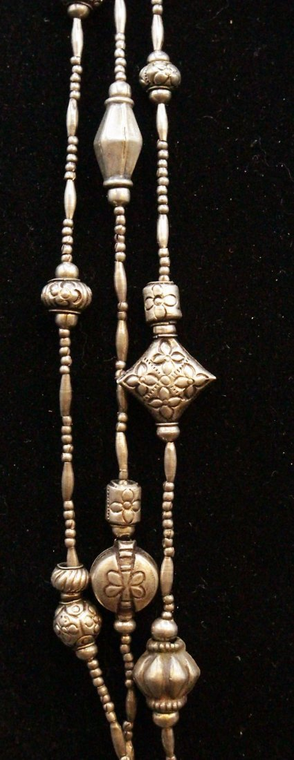 STERLING Large NAVAHO THREE STRAND NECKLACE - 6