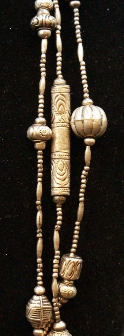 STERLING Large NAVAHO THREE STRAND NECKLACE - 7