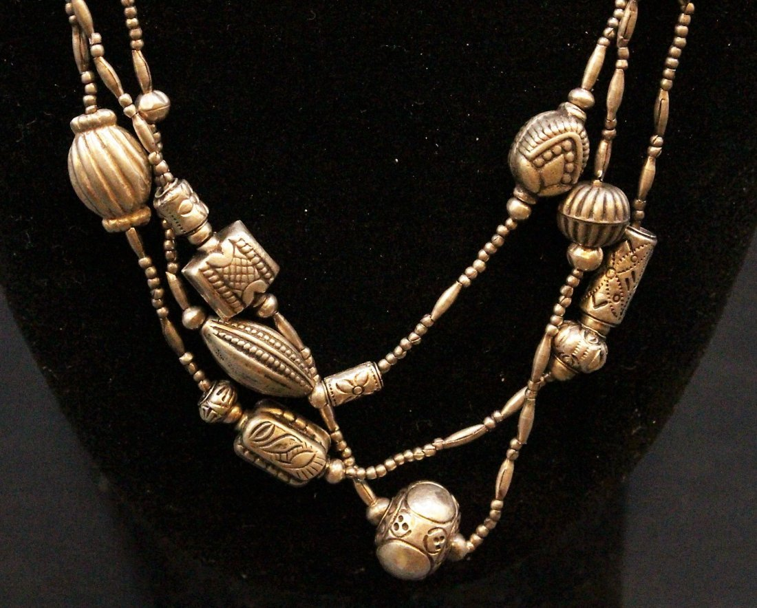 STERLING Large NAVAHO THREE STRAND NECKLACE - 8