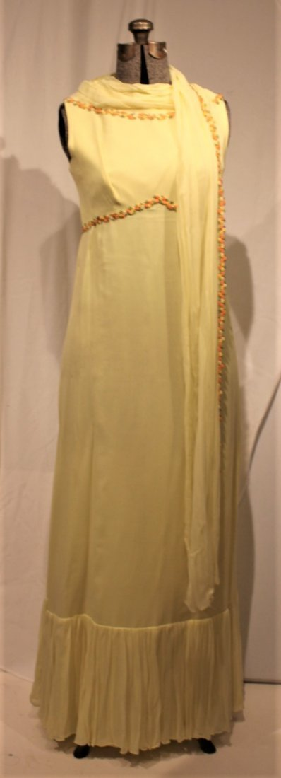 Vintage 1960s YELLOW FULL LENGTH EVENING GOWN