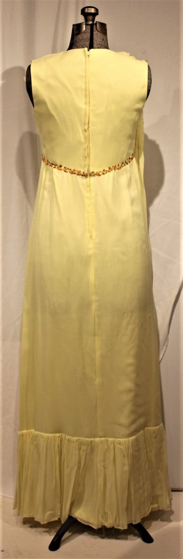 Vintage 1960s YELLOW FULL LENGTH EVENING GOWN - 2