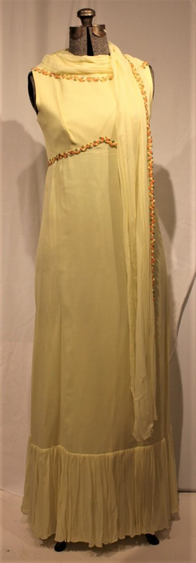 Vintage 1960s YELLOW FULL LENGTH EVENING GOWN - 3