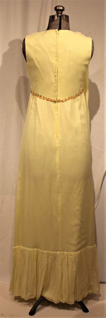 Vintage 1960s YELLOW FULL LENGTH EVENING GOWN - 4