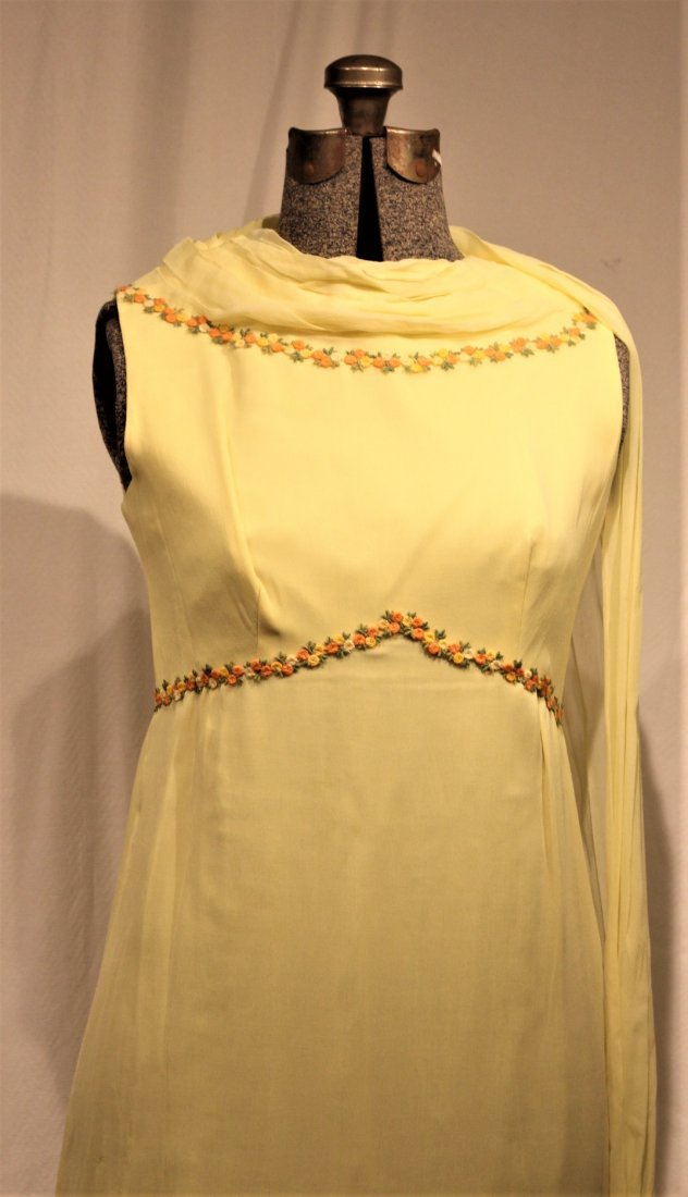 Vintage 1960s YELLOW FULL LENGTH EVENING GOWN - 7