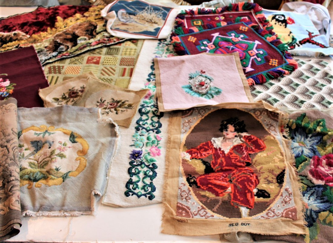 17 Pieces Assorted EMBROIDERY & NEEDLEPOINT
