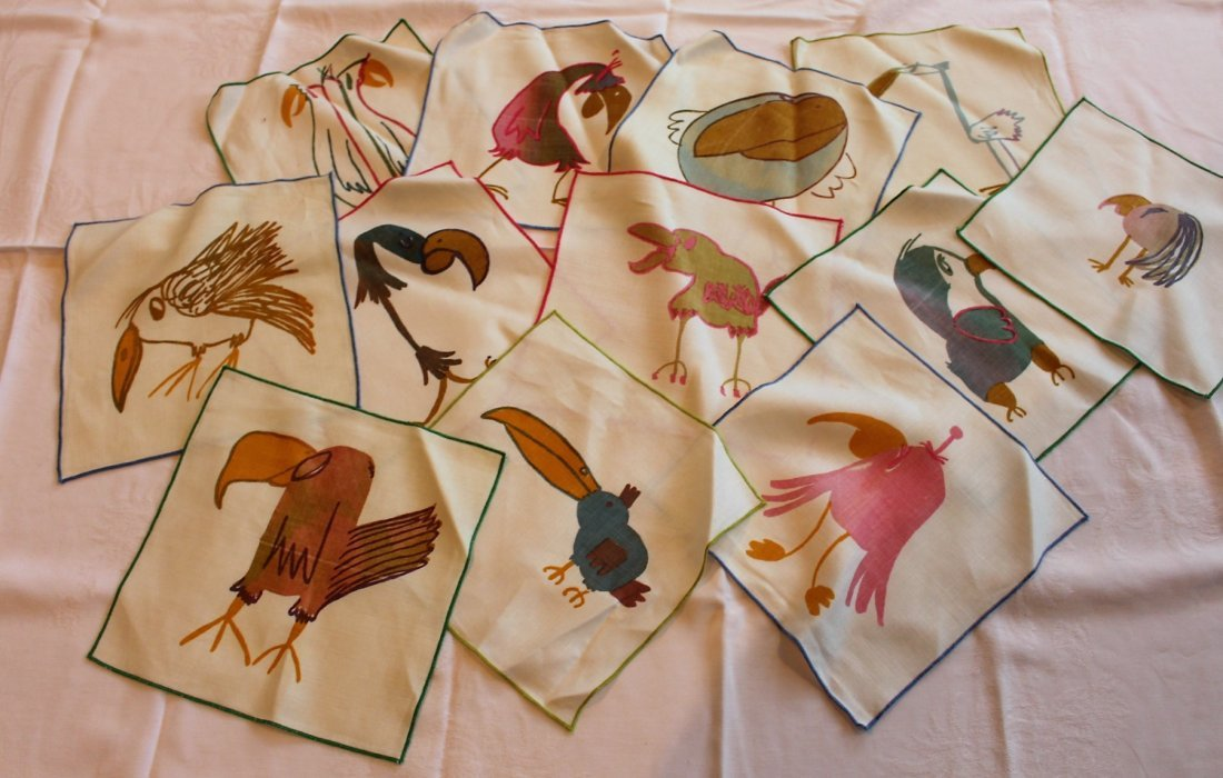 DO-DO BIRDS Linen Luncheon Napkins Set of Twelve [12] - 2