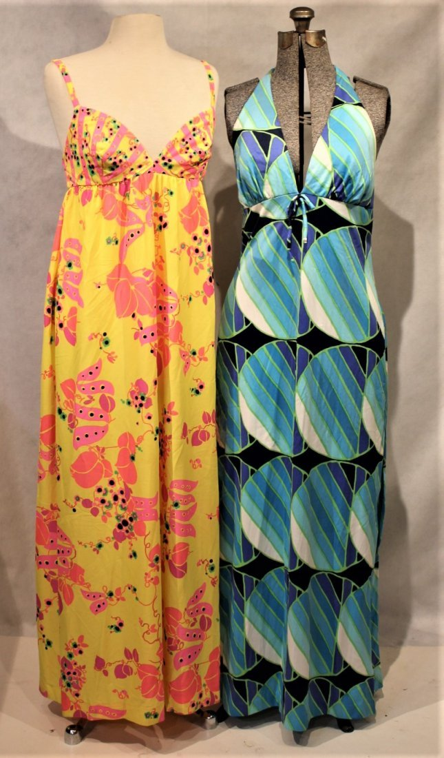 Two [2]  1960s COLORFUL PRINT SUN DRESSES
