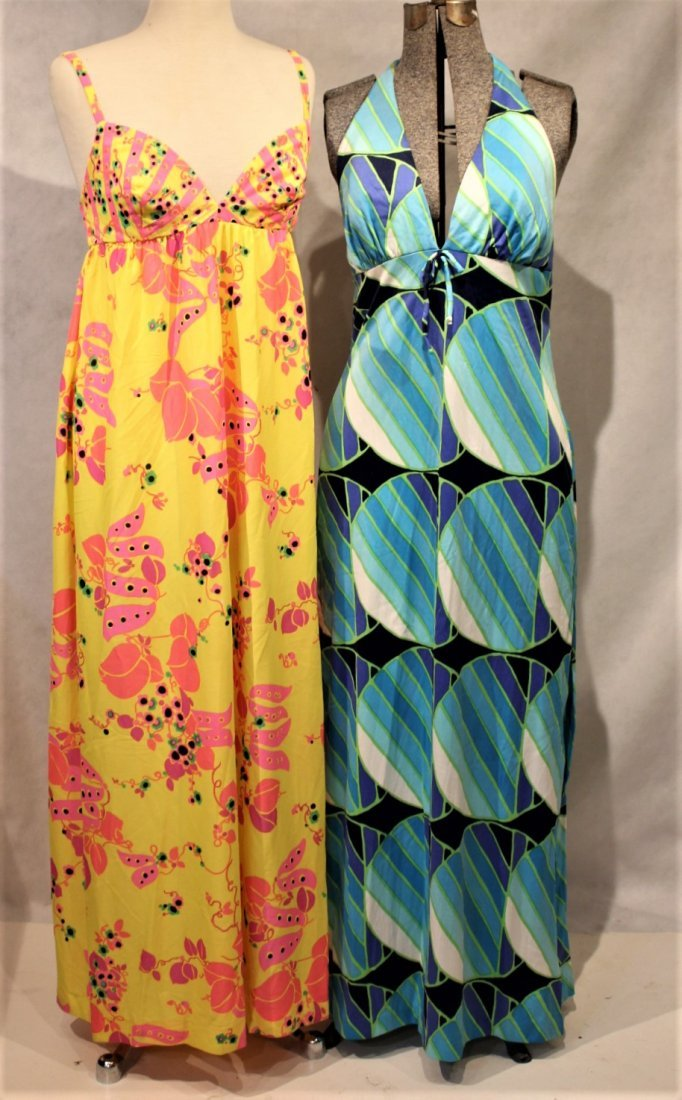Two [2]  1960s COLORFUL PRINT SUN DRESSES - 2
