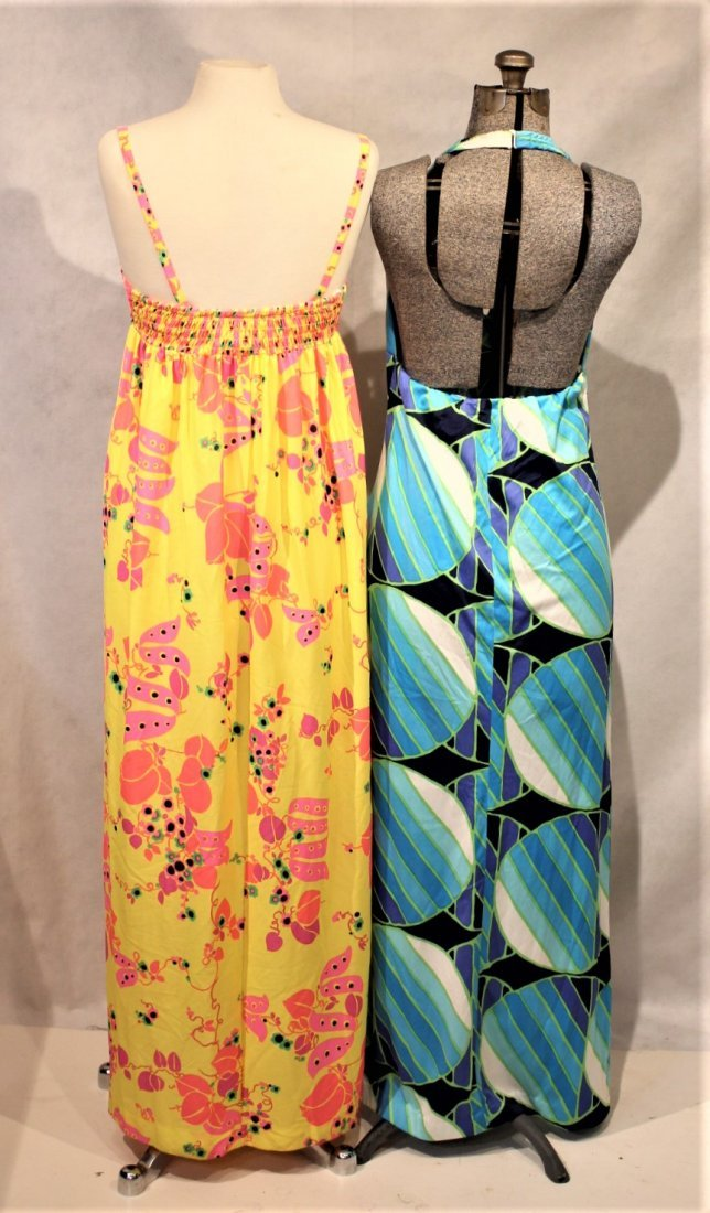 Two [2]  1960s COLORFUL PRINT SUN DRESSES - 4